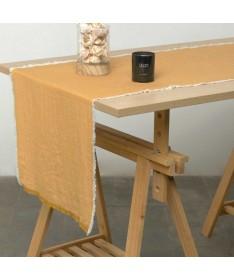 CHEMIN DE TABLE MOUTARDE 50X150 CM