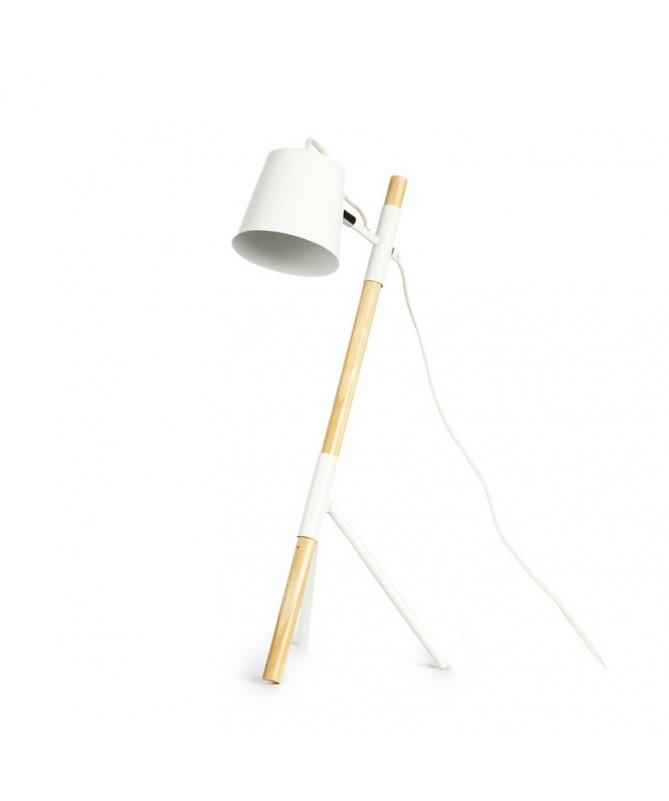 LAMPE À POSER EN BOIS ET FER