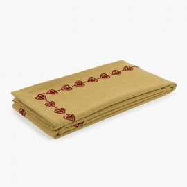 NAPPE COEURS BRODEE RECTANGULAIRE MOUTARDE