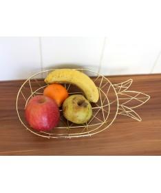 CORBEILLE À FRUITS ANANAS EN MÉTAL DORÉ